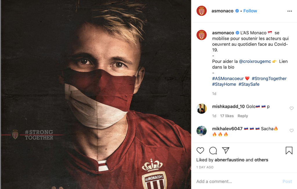 AS Monaco's Instagram page in support for those affected by COVID-19.